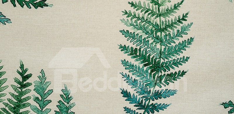Elegant Decor Green Leaves Printing Flat-Shaped Roman Shades