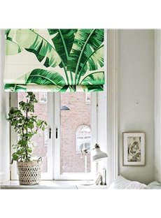Breathable Green Plantain Printing Flat-Shaped Roman Shades