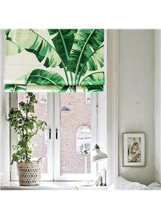 Breathable Green Plantain Printing Flat-Shaped Roman Shades