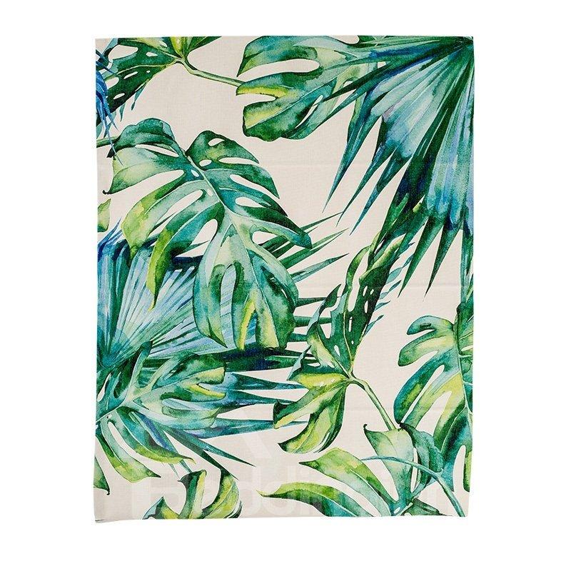 Creative Green Palm Leaves Printing Flat-Shaped Roman Shades