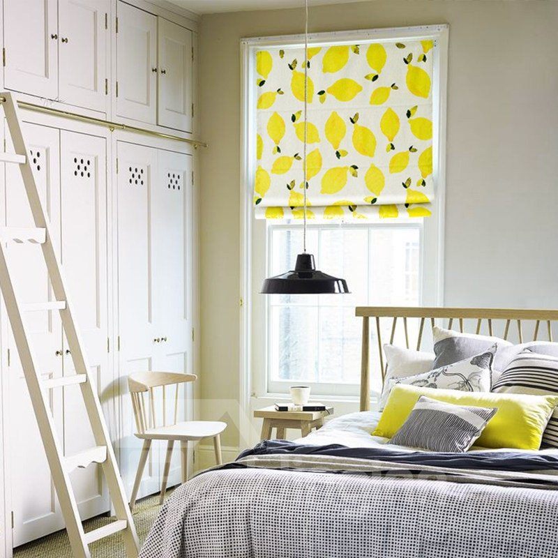 Bright Yellow Lemon Printing Flat-Shaped Roman Shades