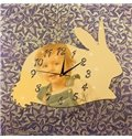 Lovely Cute Acrylic Mirror Rabbit Shape Digital Battery Wall Clock