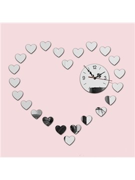 Gorgeous Acrylic Mirror Heart Shape House Decoration Battery Wall Clock