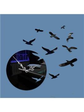 Flying Sea Gull Pattern Acrylic Battery Home Decorative Wall Clock