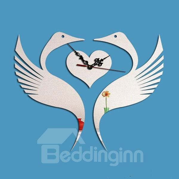 Romantic Two Birds Fall in Love Shape Acrylic Digital Battery Wall Clock