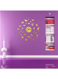 Stylish Round Acrylic Mirror Butterflies Pattern Battery Wall Clock