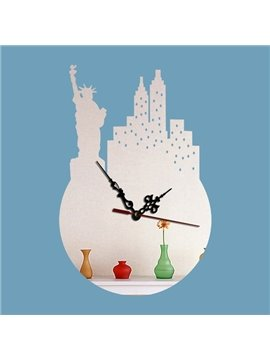 Special Design Acrylic Statue of Liberty Pattern Battery Wall Clock