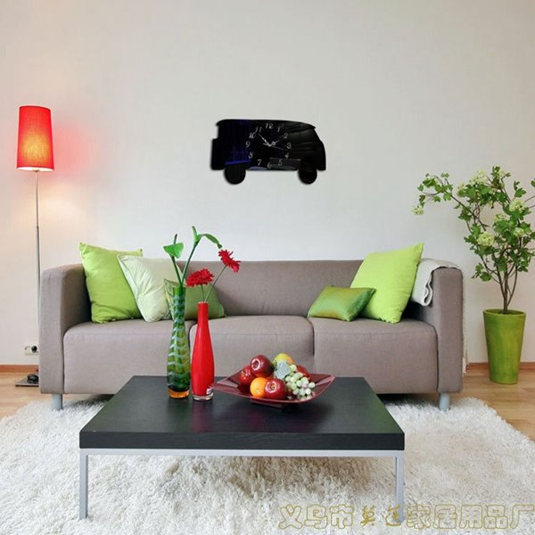 Simple Style 3 Colors Bus Shape Battery Home Decorative Wall Clock