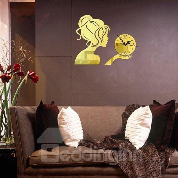 Elegant Acrylic Beautiful Girl Pattern Digital Decorative Wall Clock