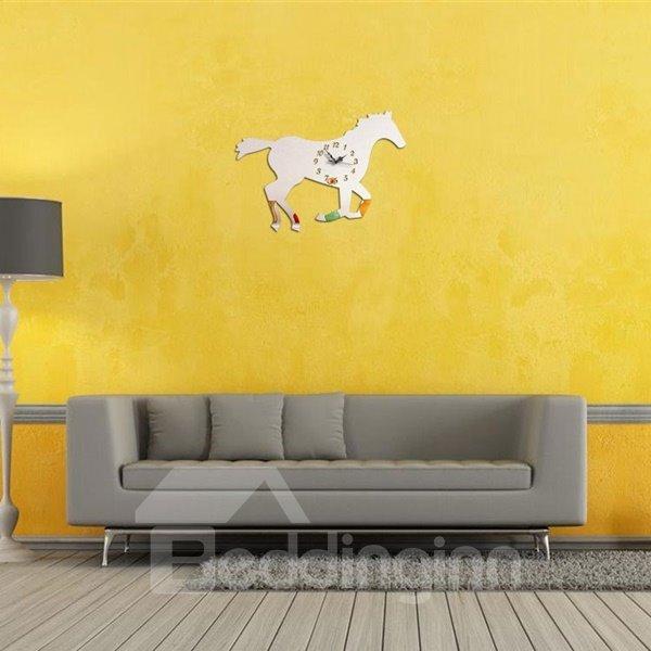 Amazing Acrylic Simple Style Running Horse Shape Decorative Wall Clock