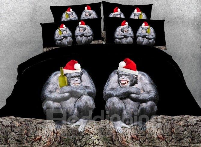 Funny Orangutan with Christmas Hat Print 4-Piece Duvet Cover Sets