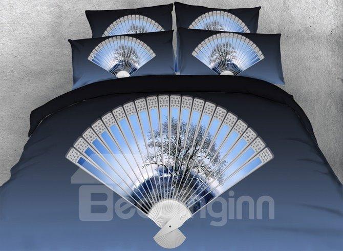 Classic Fan Print Blue 4-Piece Duvet Cover Sets 12457717