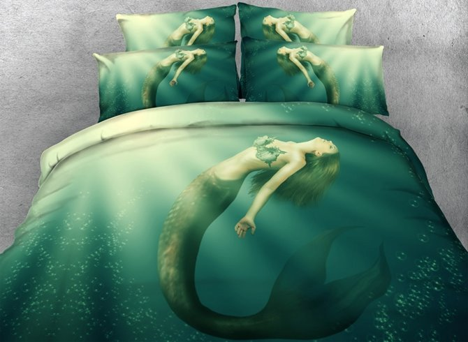 Mermaid in the Sea Print 4-Piece Duvet Cover Sets