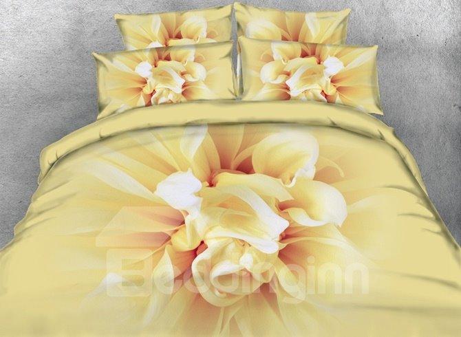 Photographic Bright Floral 3D Print 4-Piece Duvet Cover Sets