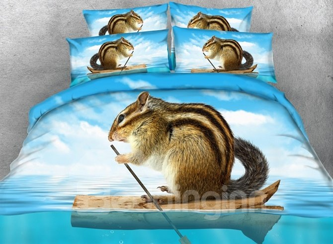 Chipmunks in the Boat Print 4-Piece Duvet Cover Sets
