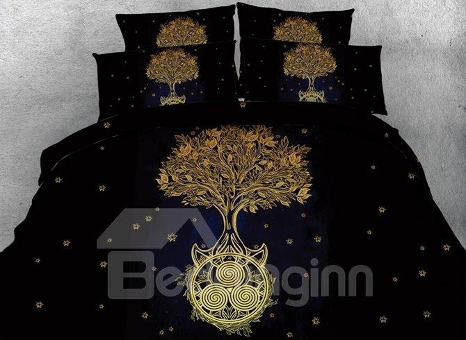 Unique Golden Tree Print 4-Piece Duvet Cover Sets