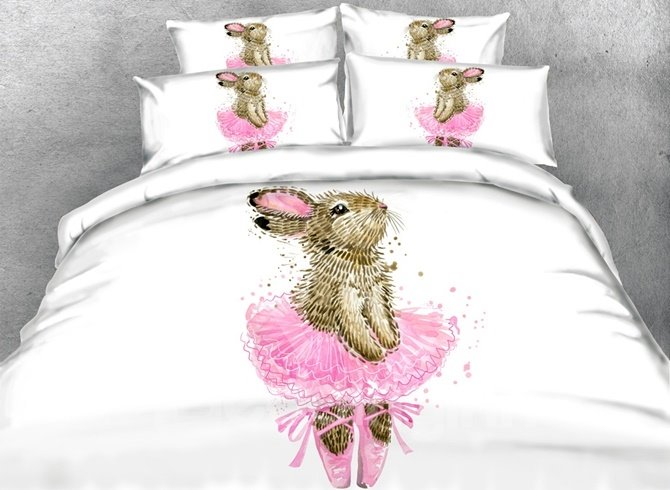 Lovely Bunny in a Pink Dress Print 4-Piece Duvet Cover Sets