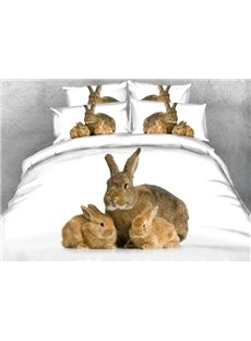 Cute Rabbit Mother and Bunnies Print 4-Piece Duvet Cover Sets