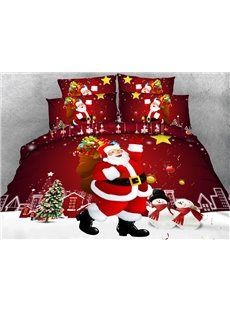 Festive Christmas Santa Claus Print Red 4-Piece Duvet Cover Sets
