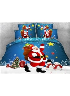 Smiling Santa Claus and Christmas Gift Print 4-Piece Duvet Cover Sets