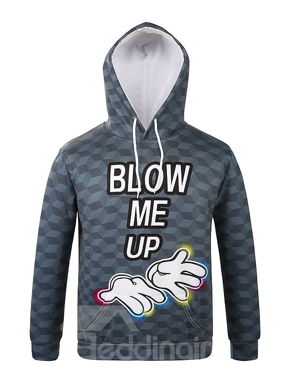 Concise Long Sleeve Hands and Letters Pattern 3D Painted Hoodie
