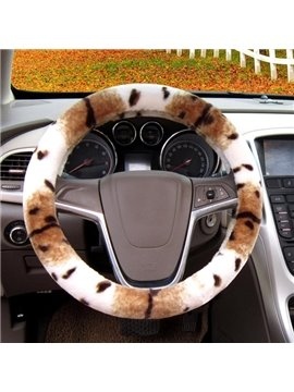 Attractive Leopard Design Most Fashion Good Review Plush Car Steering Wheel Cover