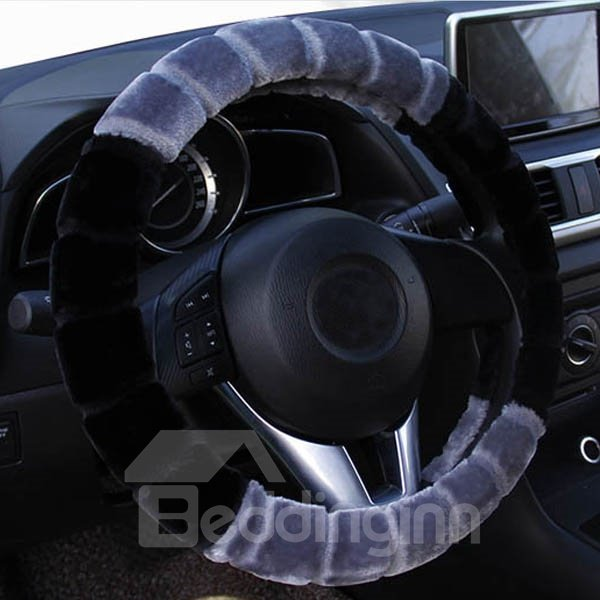 New Fashion Contrast Color Style Design Plush Car Steering Wheel Cover