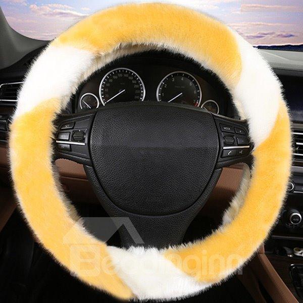 Super Popular Contrast Color Design Plush Comfortable Car Steering Cover