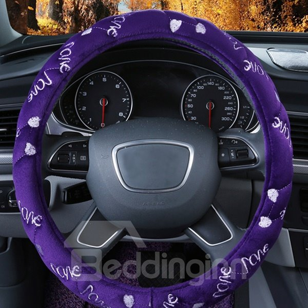 Super Comfortable With Love Pattern Fashion Design Plush Car Steering Cover