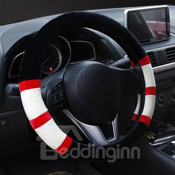 Fashion Strip Colorful Warm Plush Material Universal Car Steering Cover
