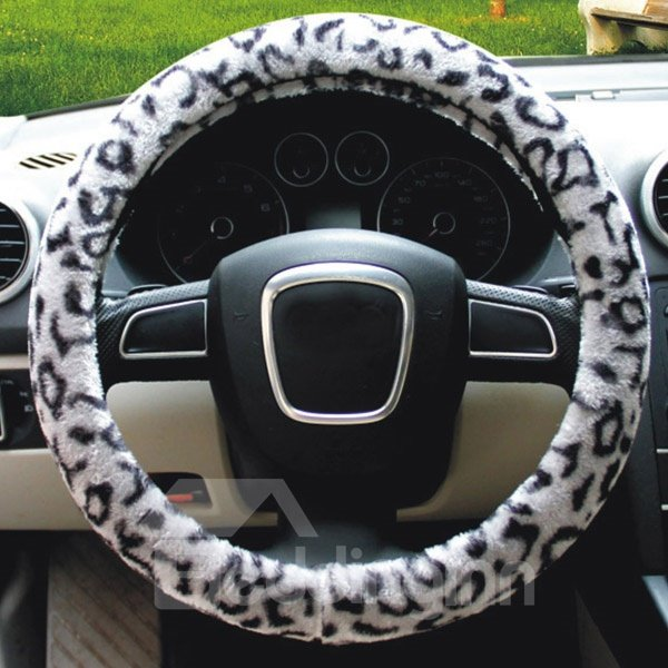 New Leopard Series Plush Material Comfortable Warm Car Steering Wheel Cover