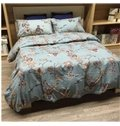 Retro Style Jacobean Print Blue Brushed Cotton 4-Piece Duvet Cover Sets