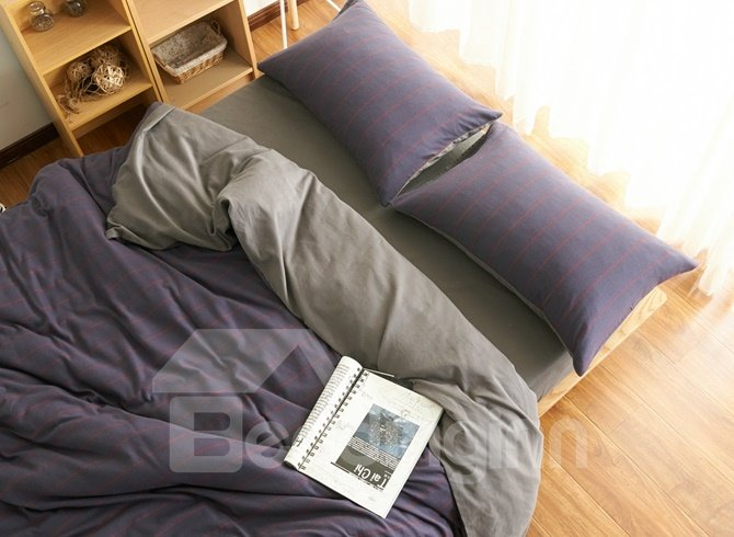 Neutral Style Stripe Print Brushed Cotton 4-Piece Duvet Cover Sets