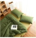 Concise Green Plaid Print Brushed Cotton 4-Piece Duvet Cover Sets