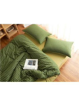 Concise Green Plaid Print Brushed Cotton 4-Piece Duvet Cover Sets