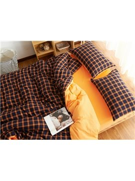 Ultra Soft Brushed Cotton Plaid Print 4-Piece Duvet Cover Sets