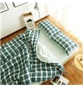 European Style Green Plaid Print 4-Piece Duvet Cover Sets