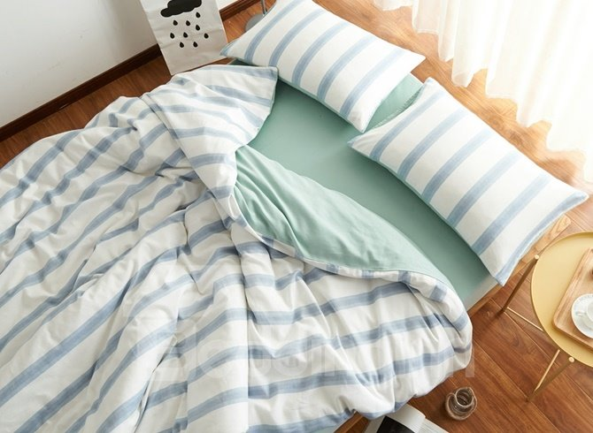 Simple Style Stripe Print White Brushed Cotton 4-Piece Duvet Cover Sets