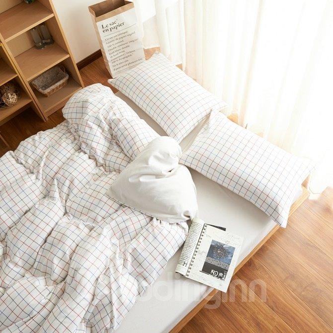 Minimalist Style White Plaid Print Brushed Cotton 4-Piece Duvet Cover Sets