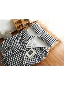 Classic Plaid Print Brushed Cotton 4-Piece Duvet Cover Sets