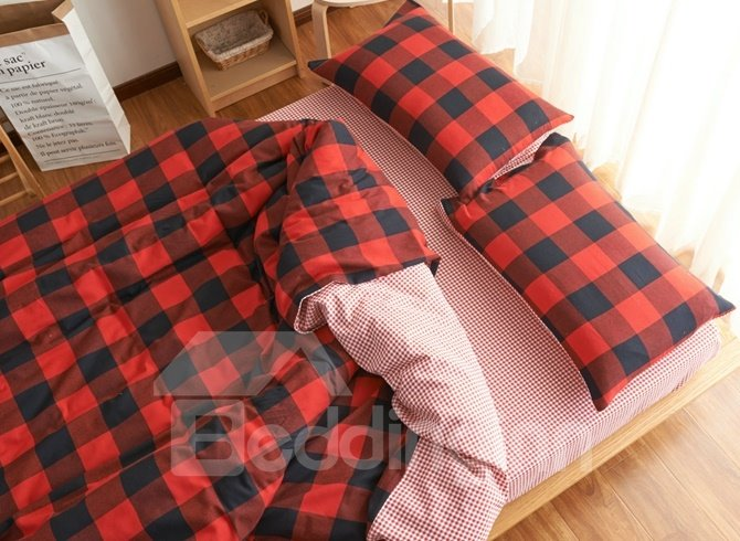 Modern Red Plaid Print Brushed Cotton 4-Piece Duvet Cover Sets