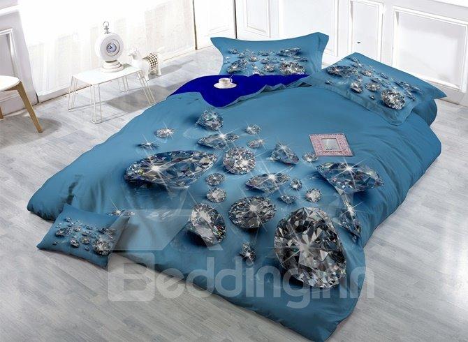 Shining Diamond Digital Printing Satin Drill 4-Piece Duvet Cover Sets