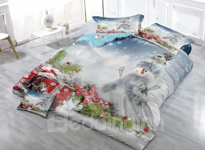 Dreamy Snowman and Christmas Gift Print Satin Drill 4-Piece Duvet Cover Sets