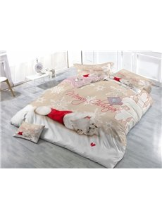 Naughty Kitty and Christmas Hat Print Satin Drill 4-Piece Duvet Cover Sets