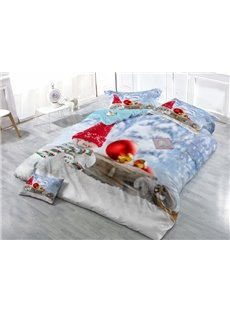 Popular Snowman Digital Printing Satin Drill 4-Piece Duvet Cover Sets