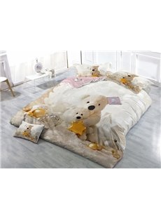 Likable Bear Doll Print Satin Drill 4-Piece Duvet Cover Sets