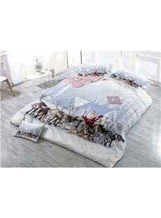 Adorable Santa Claus and Reindeer Print Satin Drill 4-Piece Duvet Cover Sets