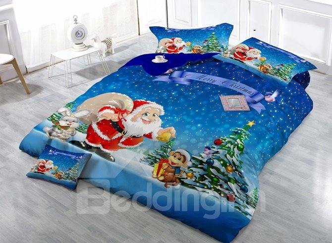 Likable Santa Claus and Monkey Print Satin Drill 4-Piece Duvet Cover Sets