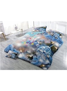 Christmas Decor Digital Printing Satin Drill Blue 4-Piece Duvet Cover Sets