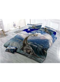 Fancy Dinosaur Digital Printing Satin Drill 4-Piece Duvet Cover Sets